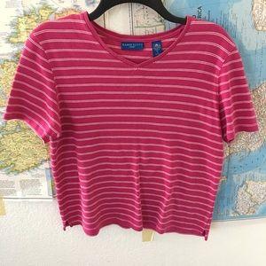 pink striped v neck tee S